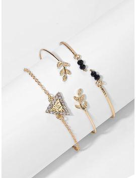Rhinestone Triangle & Leaf Bracelet Set 3pcs by Shein