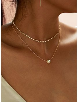 Faux Pearl Pendant Rhinestone Choker Necklace 2pcs by Shein