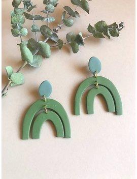 Double Arch Earrings  Green Statement Earrings by Etsy
