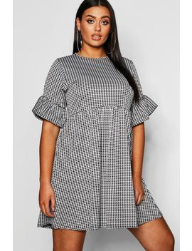 Plus Dogtooth Frill Smock Dress by Boohoo