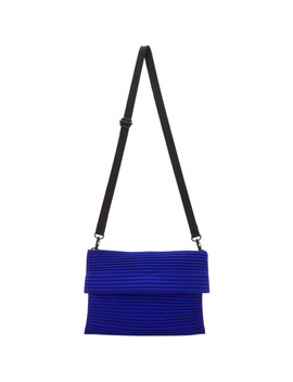 Blue Small Pleated Flat Bag by Homme PlissÉ Issey Miyake
