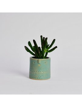 Mini Succulent Plant Pot With Face // Turquoise Green by Etsy