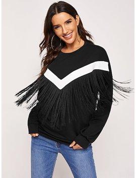 Drop Shoulder Fringe Embellished Sweatshirt by Shein