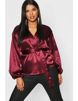 Plus Satin Wrap Balloon Sleeve Kimono Top by Boohoo