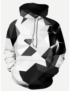 Men 3 D Geo Print Hooded Sweatshirt by Romwe