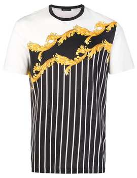 Baroque Stripe T Shirt by Versace