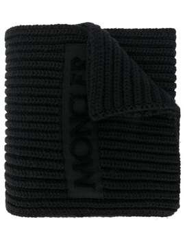 Ribbed Logo Scarf by Moncler