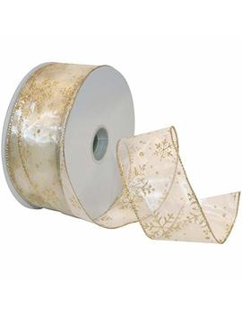 Morex Ribbon Snowflake Wired Sheer Glitter Ribbon, 2 1/2 Inch By 50 Yard Spool, Ivory/Gold by Amazon