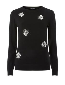 Black Snowflake Gem Jumper by Dorothy Perkins