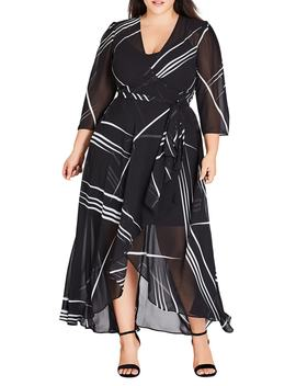 Power Lines Chiffon Wrap Maxi Dress by City Chic