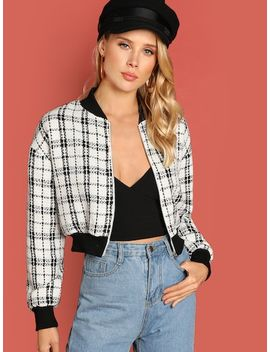 Zip Up Plaid Bomber Jacket by Shein