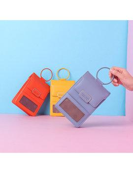 Women Solid Pu Leather Card Bag Phone Bag Crossbody Bag by Newchic