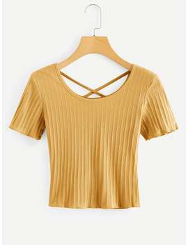 Criss Cross Ribbed Tee by Romwe