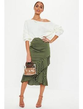 Olive Green Satin Polka Dot Frill Midi Skirt by Missguided