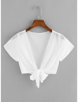 Knot Hem Solid Sheer Tee by Romwe