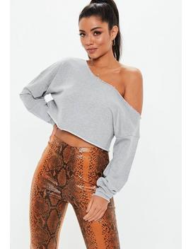 Grey Off The Shoulder Cropped Sweatshirt by Missguided