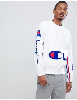 Champion Sweatshirt With Crinkle Nylon Sleeves In White by Champion