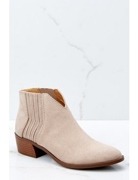 All The Rage Beige Ankle Booties by Qupid