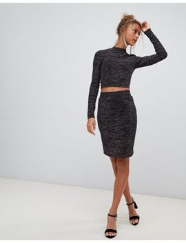 New Look Glitter Midi Pencil Skirt In Black by New Look