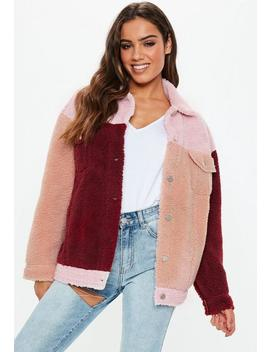 Pink Oversized Colourblock Borg Trucker Teddy Jacket by Missguided