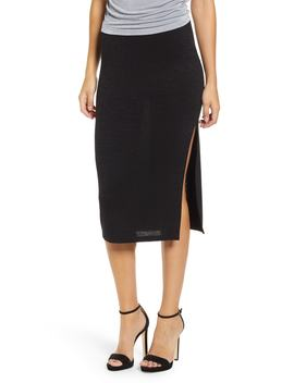 High Slit Marled Midi Skirt by Leith