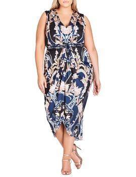 Deco Print Sleeveless Dress by City Chic