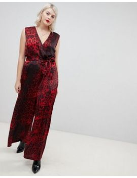 Unique21 Hero Red Leopard Print V Neck Jumpsuit With Tie Belt by Asos Brand