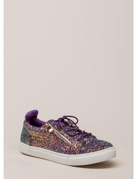 Let It Zip Glittery Iridescent Sneakers by Go Jane