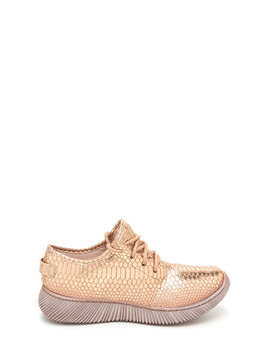 Casual Luxury Shiny Snakeskin Sneakers by Go Jane