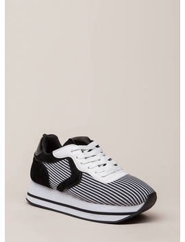 Higher Ups Stripe Knit Platform Sneakers by Go Jane