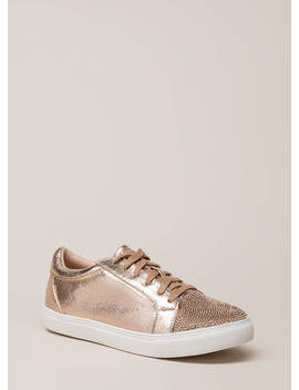 Bling It Jeweled Metallic Sneakers by Go Jane
