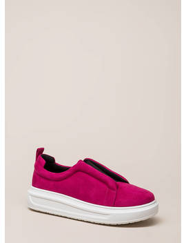 Can't Be Suede Slip On Platform Sneakers by Go Jane