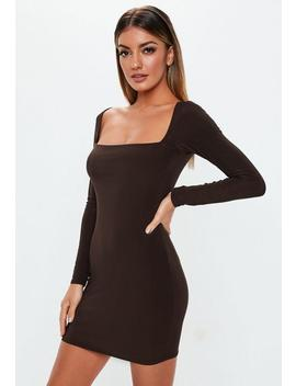 Brown Double Layer Slinky Wide Neck Mini Dress by Missguided