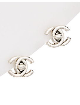 Chanel Silver Tone Medium Cc Turnlock Clip On Earrings by Chanel