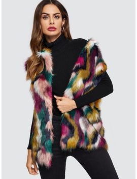 Open Front Colorful Faux Fur Vest by Shein