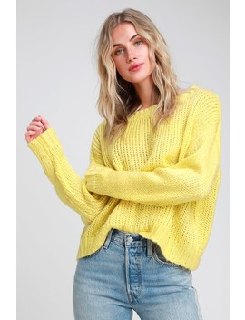 Annabella Pale Yellow Knit Loose Oversized Sweater by Lulus