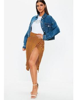 Rust Polka Dot Split Front Skirt by Missguided
