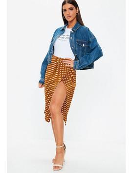Rust Polka Dot Split Front Skirt by Missguided