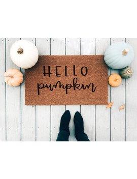 Hello Pumpkin Doormat by Etsy