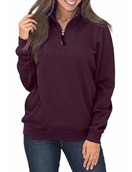 Hotapei Womens Oversized Long Sleeves Collar Quarter 1/4 Zip Pullover Sweatshirts by Hotapei