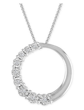 Diamond Accent Circle Pendant Necklace In 10k White Gold by Macy's