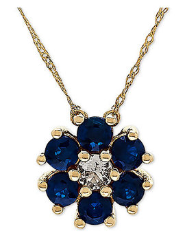 """Sapphire (9/10 Ct. T.W.) & White Topaz (1/6 Ct. T.W.) 18"""" Pendant Necklace In 14k Yellow Gold (Also Available In Emerald) by Macy's"""