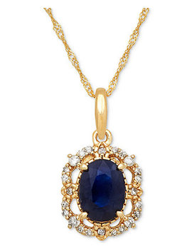 Sapphire (1 Ct. T.W.) & Diamond (1/10 Ct. T.W.) Pendant Necklace In 14k Gold by Macy's