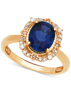 Sapphire (1 Ct. T.W.) & Diamond (1/10 Ct. T.W.) Halo Ring In 14k Gold by Macy's