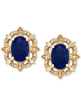Sapphire (1 1/3 Ct. T.W.) & Diamond (1/8 Ct. T.W.) Stud Earrings In 14k Gold by Macy's