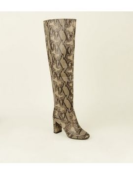 Stone Faux Snake Heeled Knee High Boots by New Look