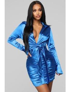 You're Not Slick Mini Dress   Royal by Fashion Nova