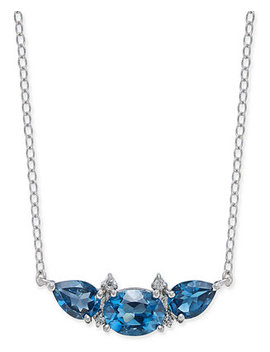 """London Blue Topaz (3 1/3 Ct. T.W.) & Diamond Accent 18"""" Collar Necklace In Sterling Silver by Macy's"""