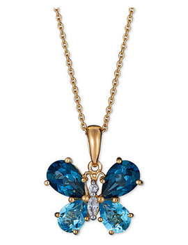 """Multi Gemstone Butterfly 18"""" Pendant Necklace (4 1/2 Ct. T.W.) In 14k Gold Plated Sterling Silver by Macy's"""