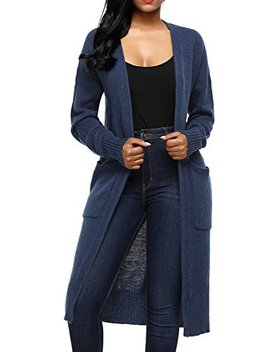 Alva Q Women's Open Front Long Sweaters Cardigans Pockets by Alva Q